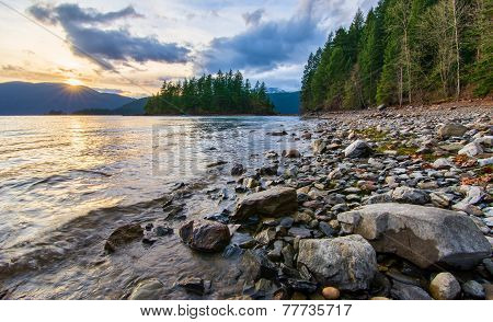 Sunset Along Shore Of Harrison Lake