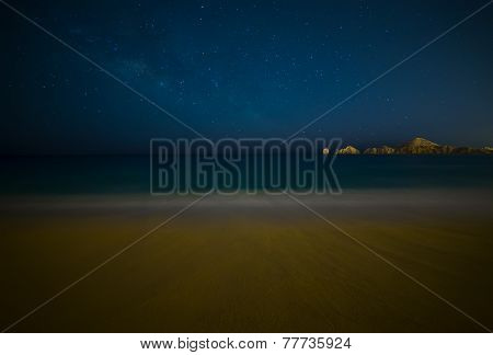 Milky Way Over Beach In Cabo San Lucas Mexico