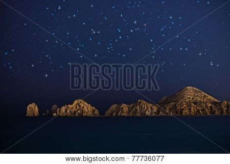 Rock Formations In Cabo San Lucas At Night