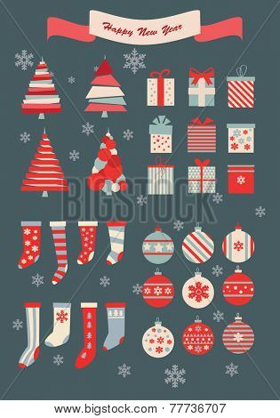 Christmas and new year vector design elements set.