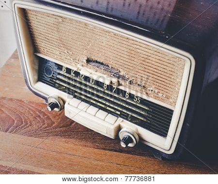 Retro Radio On Wooden Table