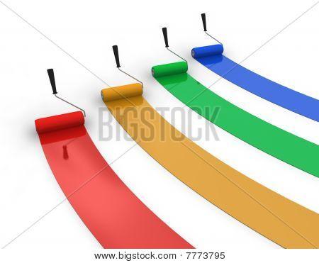 Quatro trilhas de tinta de cor