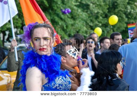 Participants parade at Gay Fest Parade May 22, 2010 in Bucharest, Romania