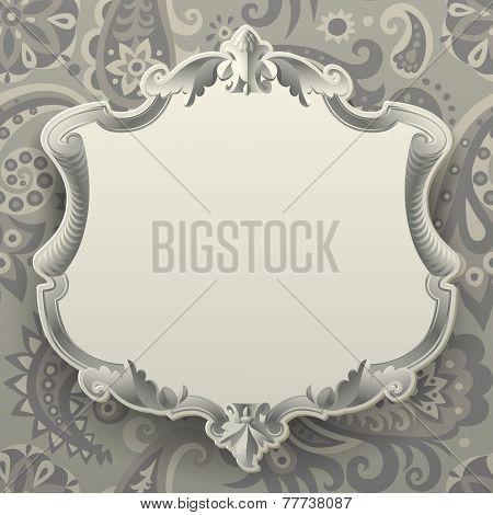 Vintage frame against a  decorative seamless pattern background. Vector illustration