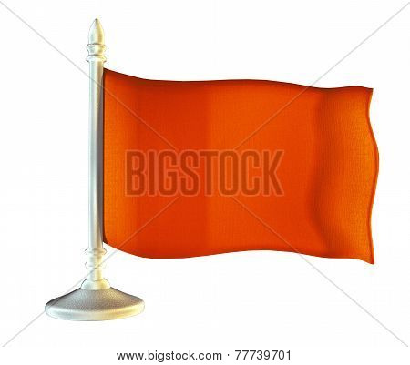 Red Blank Flag With Flagpole Waving In The Wind Against White Background.