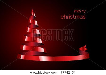 Stylized Christmas tree created from a spiral of satin ribbon. Space for your text. EPS10 vector format