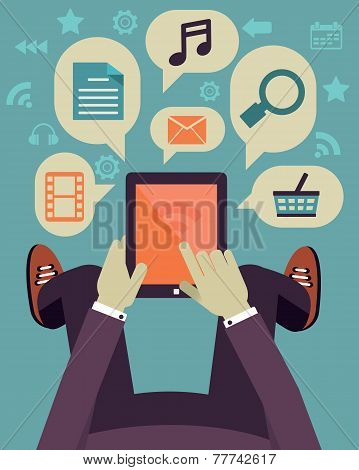 User Hold Mobile Device. Tablet Pc With Applications. Flat Design