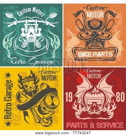 Set of vintage motorcycle labels. Vector stpck illustration.