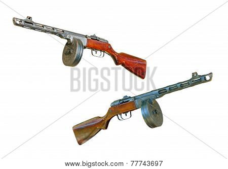 Set Of Russian Machine Gun Taken Closeup.isolated.
