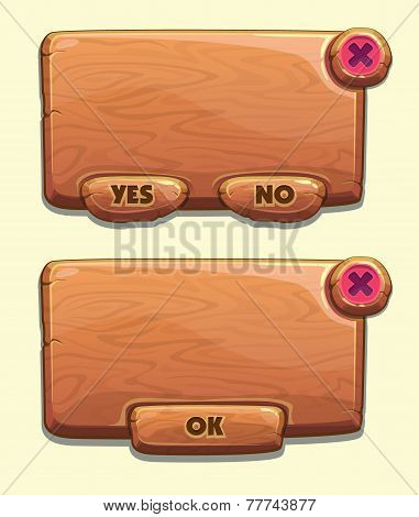 Wooden cartoon panels