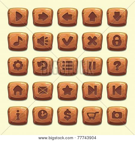 Big set of cartoon wooden vector buttons for game UI