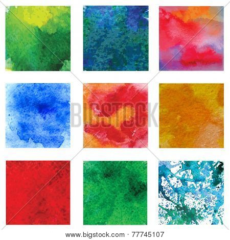 Set of vector colorful backgrounds with watercolor effect.
