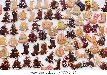 Christmas Cookies On White Table