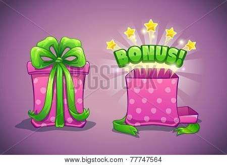 Pink gift box with bonus