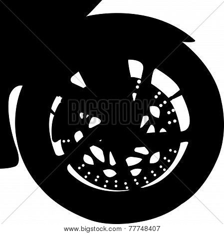 Motorcycle Front wheel detail