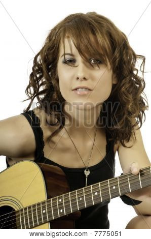 Pretty Brunette Guitar Player