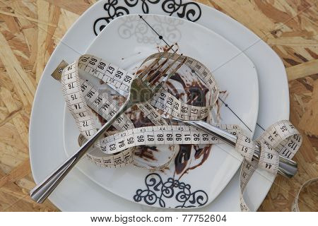 Dirty plate,fork,knife and measuring band.