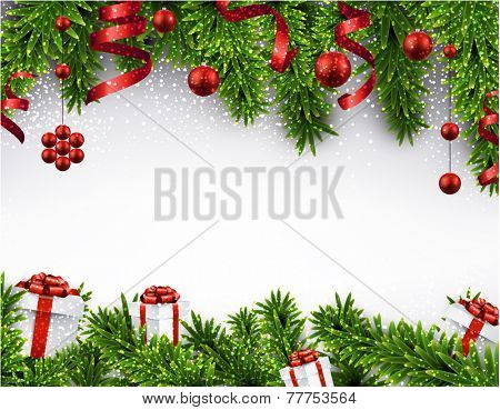 Winter banner  with spruce twigs and red baubles. Christmas vector illustration. Eps10.