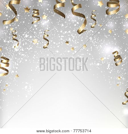 Silver winter abstract background. Christmas background with stars and confetti. Vector.