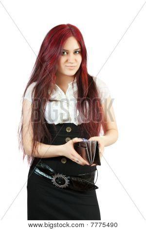 Beauty women with silver wallet