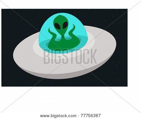 Alien Flying In Spaceship