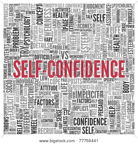 Close up Red SELF CONFIDENCE Text at the Center of Word Tag Cloud on White Background.