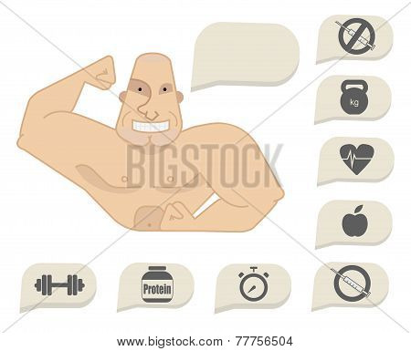 Bodybuilder Torso With Speech Bubbles. Happy Face