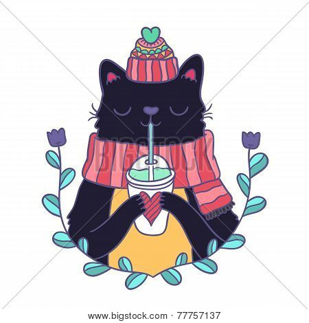 cute cartoon Merry Christmas card with cat