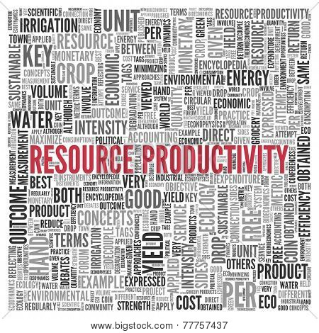 Close up Red RESOURCE PRODUCTIVITY Text at the Center of Word Tag Cloud on White Background.