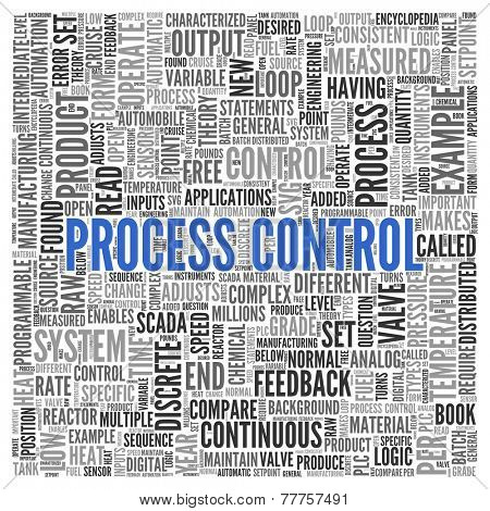 Close up Blue PROCESS CONTROL Text at the Center of Word Tag Cloud on White Background.