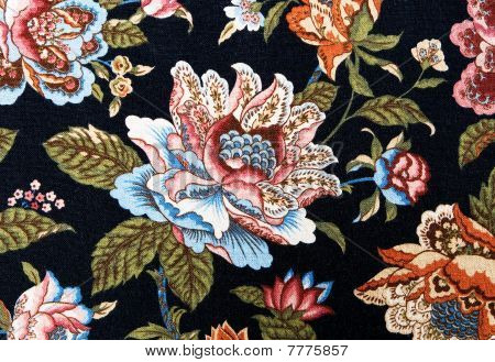 Pattern Of An Ornate Colorful On Black Floral Tapestry