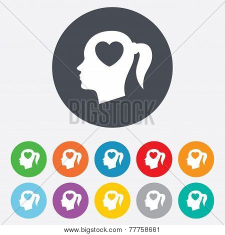 Head with heart sign icon. Female woman head