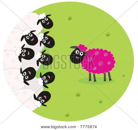 One pink sheep is lonely in the middle of white sheep family