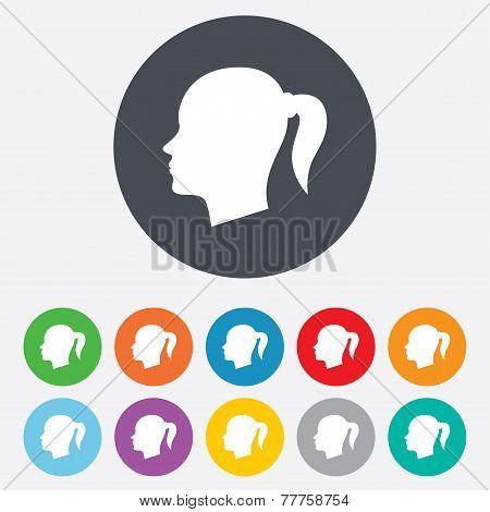 Head sign icon. Female woman human head.