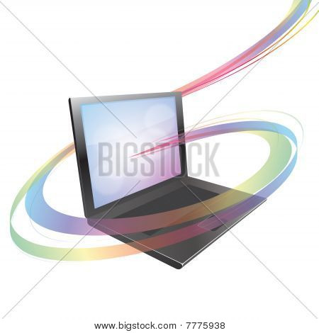 Vector Laptop with Swirl