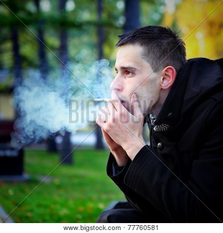 Sad Man Smoking