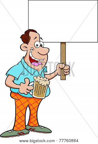 Cartoon man holding a sign