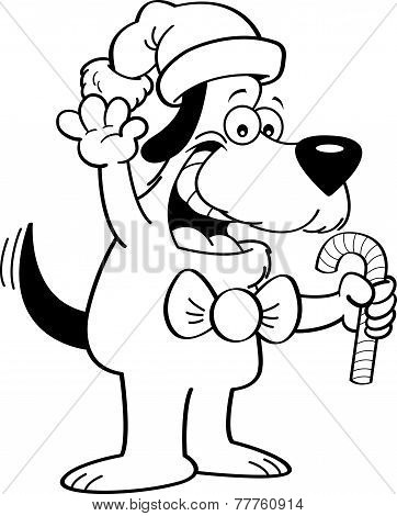 Cartoon dog holding a candy cane