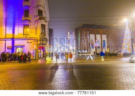 Christmas Market in Krakow, Poland By Night