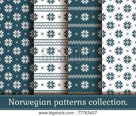 Norwegian Seamless Patterns. Vector Set.