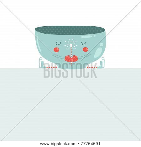 Vector christmas mug with blank banner. Christmas greeting card