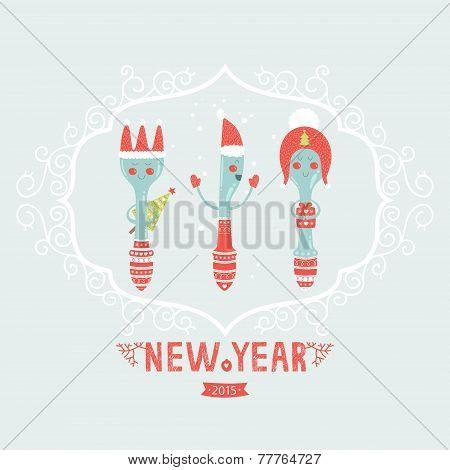 Vector christmas greeting card with spoon, plug, knife
