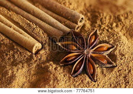 Cinnamon Sticks, Ground Cinnamon And  Star Anise