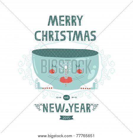 Christmas vector card with cute mug, magic wand and skates.