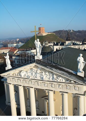 Cathedral, Gediminas Hill And Three Crosses From Above