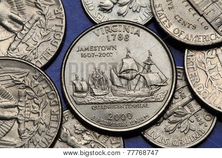 Coins of USA. Ships Susan Constant, Godspeed and Discovery depicted on the US Virginia quarter (2000).