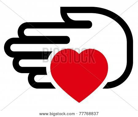 Vector icon of red heart on hand