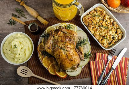 Feasting - Stuffed Roast Chicken With Herbs