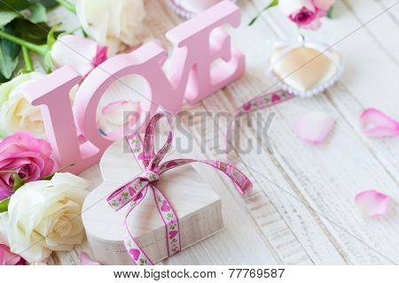Valentine's day concept with gift box, letters