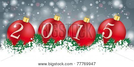 Long Grey Christmas Card Red Baubles 2015